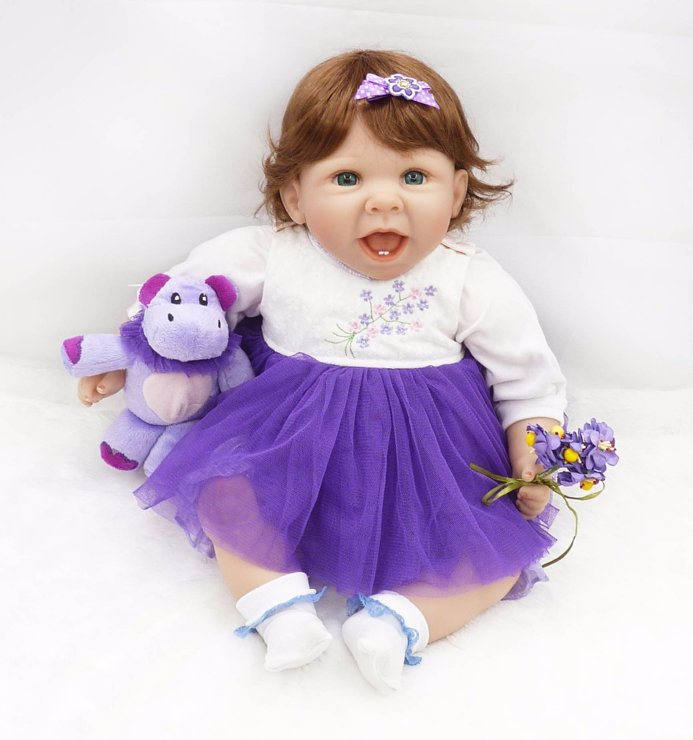55cm Silicone Reborn Baby Doll Toy Lifelike 22inch Princess Toddler Smile Girl Babies Dolls Birthday Gift Present Play House Toy silicone vinyl princess doll toy for girl lifelike smile toddler dolls with pink dress long hair play house toy collectable doll
