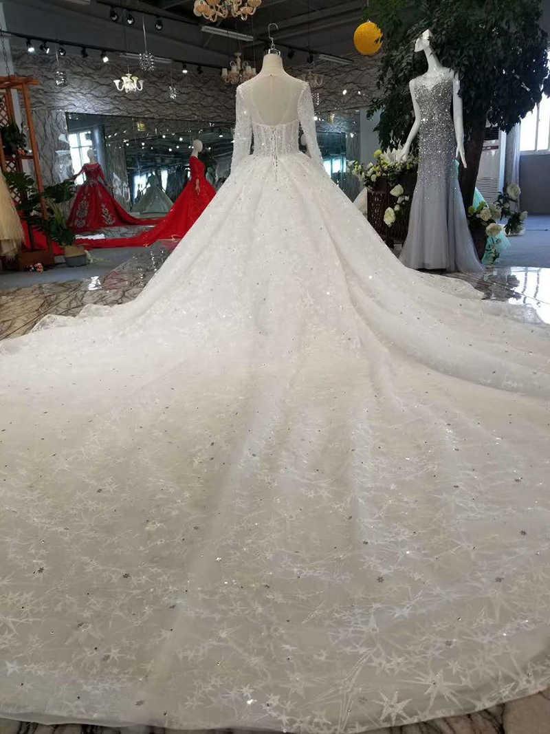 LSS163 sexy see-through vestidos de casamento ilusão o-pescoço manga longa de tule brilhante do vestido de casamento com trem aberto para trás livre grátis