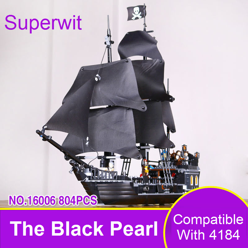 Superwit Lepin 16006 804Pcs Pirates of the Caribbean The Black Pearl Model Set Building Blocks Bricks Compatible 4184 Toys Ship dhl lepin 22001 1717pcs pirates of the caribbean building blocks ship model building toys compatible legoed 10210