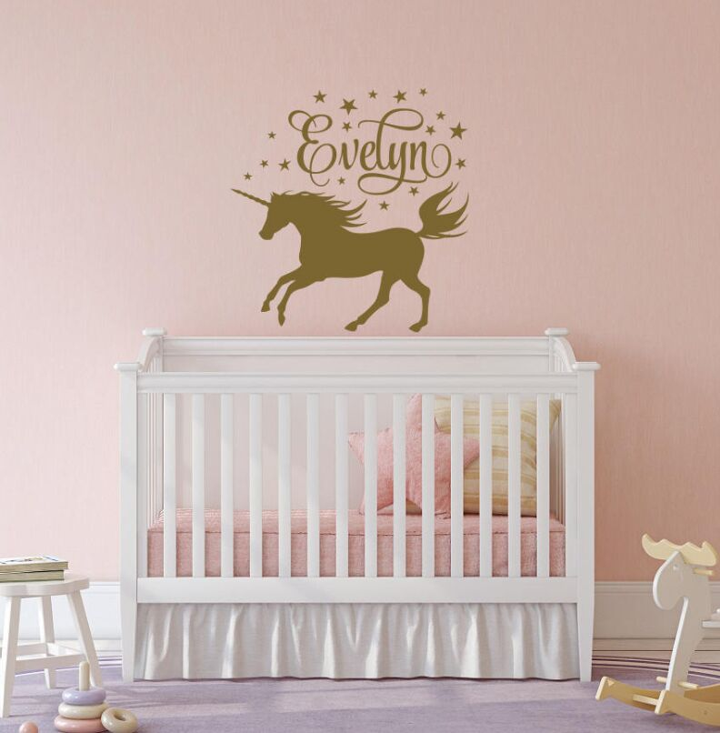 Unicorn Wall Decal Girl Name Sticker Personalized Nursery Bedroom Decor Horse Art Mural AY0112