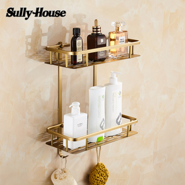 Sully House Antique Brass Bathroom Rectangle Basket Shelf,Bronze Dual Tier  Shelves With 2 Robe