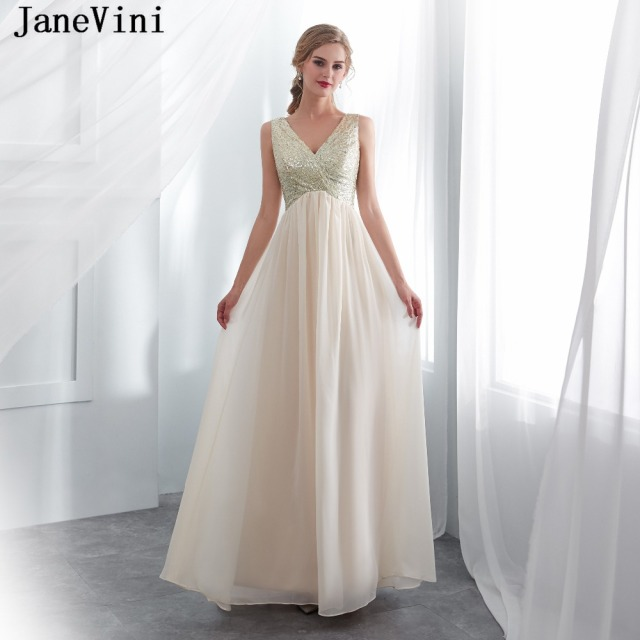 JaneVini Champagne Chiffon Sequined Long Bridesmaid Dresses A Line V Neck  Backless Women Wedding Party Gowns c2150e97e600