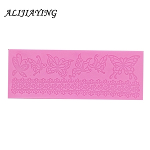 Image 2 - Hollow butterfly Flower Lace Mold Cake border Decoration tools Fondant Cake 3D Mold Food Grade Silicone mat Mould D0360