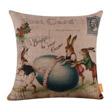 LINKWELL 45*45 см Ретро пасхальное яйцо кролик Брезентовая Подушка покрывает счастливый кролик сезонное украшение праздник весна подарок