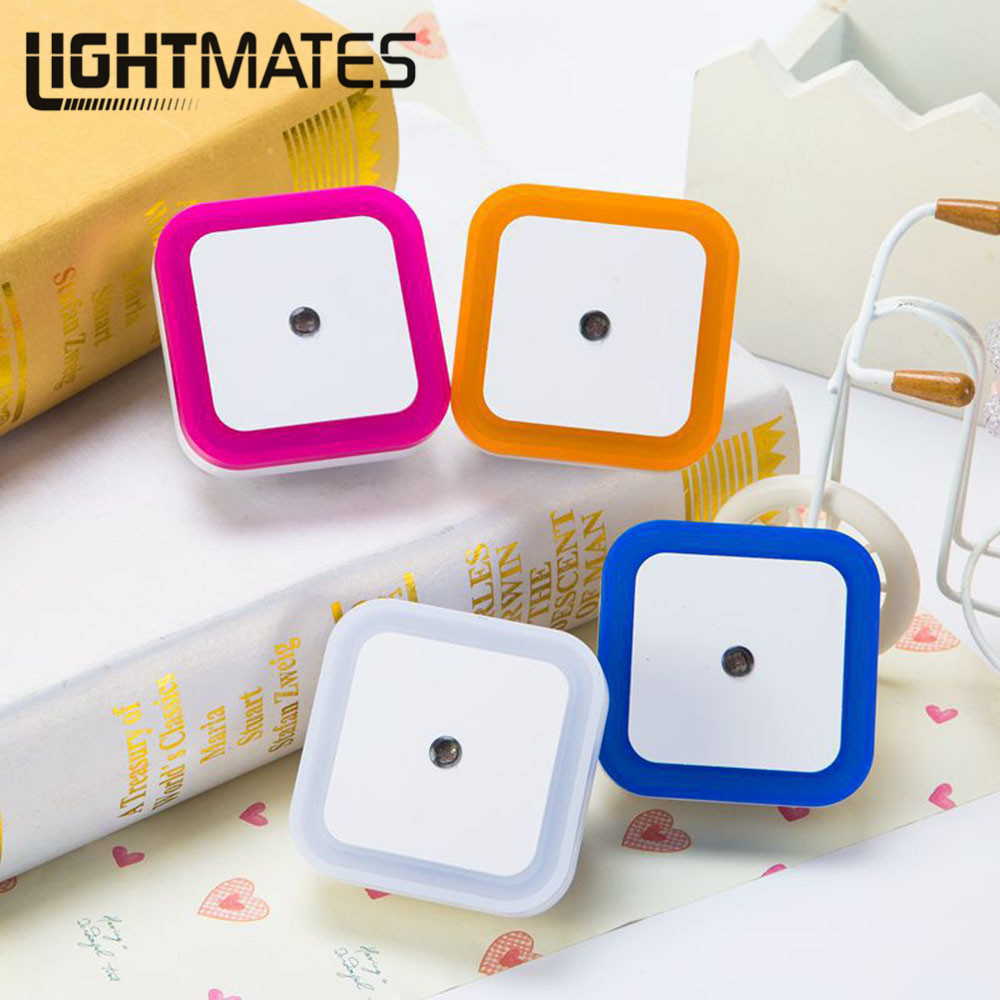 Light Night Light Control Sensor Mini EU Plug US Novelty Square Bedroom Lamp For Baby Gift Romantic Colorful Lights
