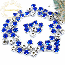 3mm 4mm 5mm 6mm 7mm 8mm Sapphire blue Diamond shape Glass Crystal rhinestones with silvery claw Diy wedding dress accessories