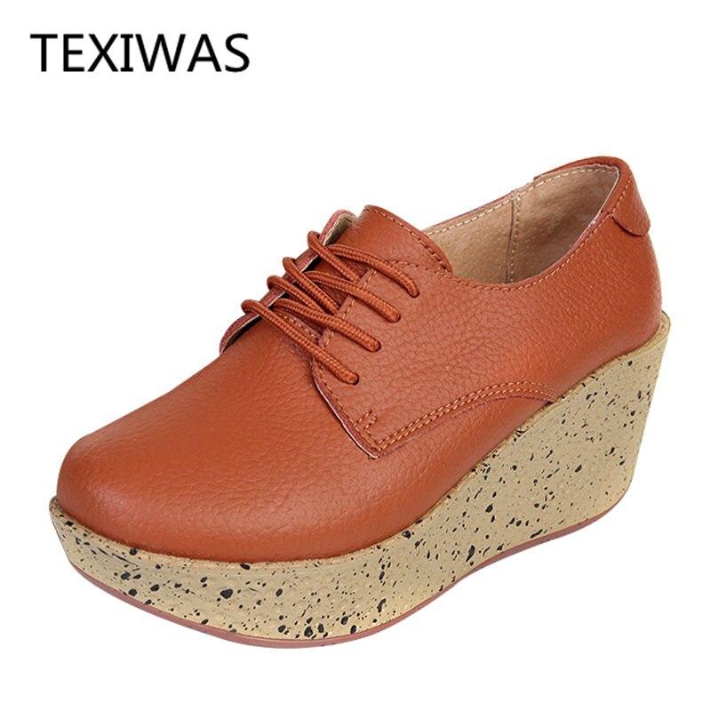 Talons Cuir orange Noir Véritable Chaussures jaune Femme En Haute marron Compensées Plate Texiwas forme Célibataires Pompes Coins Casual Femmes BfqC54w