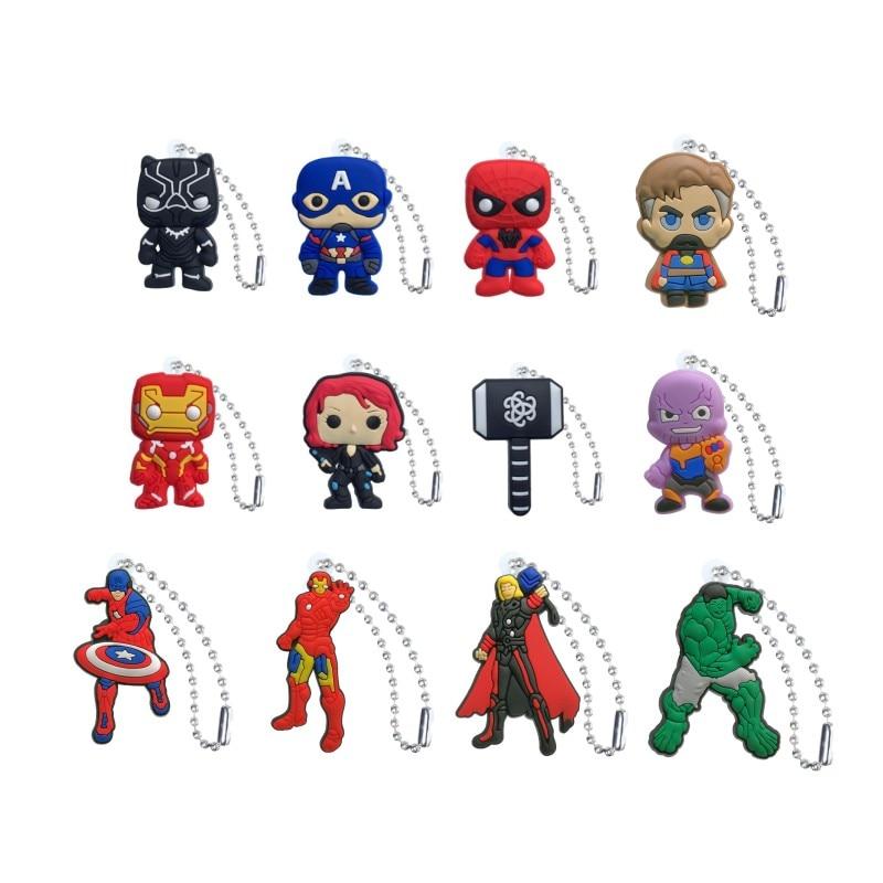 New 1pcs Marvel Avenger Keychain Superhero Figure Key Ring Accessory Trinkets Key Chain Key Holder Fashion Ball Chain Kids Gift