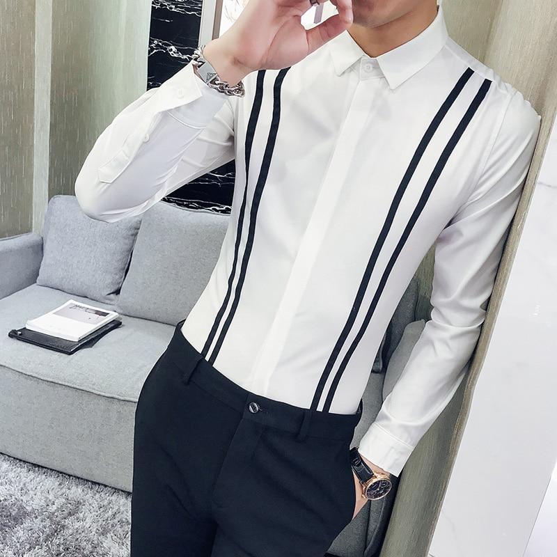 2018 Neue Männer Mode Streifen Lange ärmeln Hemd Koreanische Version Nacht Shop Friseur Persönlichkeit Abendessen Mode Hemd Bequemes GefüHl