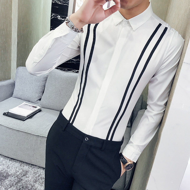 2018 new men's fashion stripes long sleeved shirt Korean version night shop hairdresser personality dinner fashion shirt