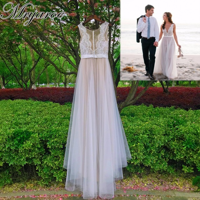 67a33ba405 Mryarce Beach Wedding Dress Illusion Neckline Lace Appliques Flowy Tulle  Summer Dresses Bridal Gowns With Buttons