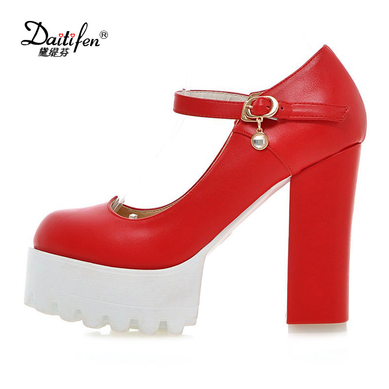 Daitifen Large size 32-42 mary janes women shoes woman high heels elegant buckle strap office lady  wedding Thick heel pumps