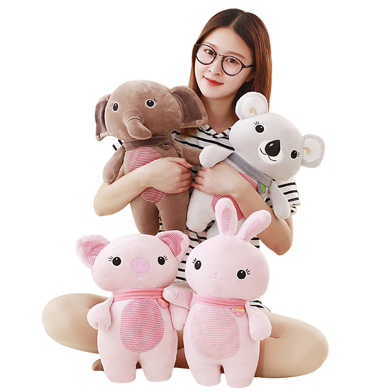 1pc 35cm 4 Styles Stuffed Animal With Soft Feathers Plush Koala Elephant Bunny Pig, Super Quality Toy For Girl Christmas Gift plush toy happy stuffed pig with a hat