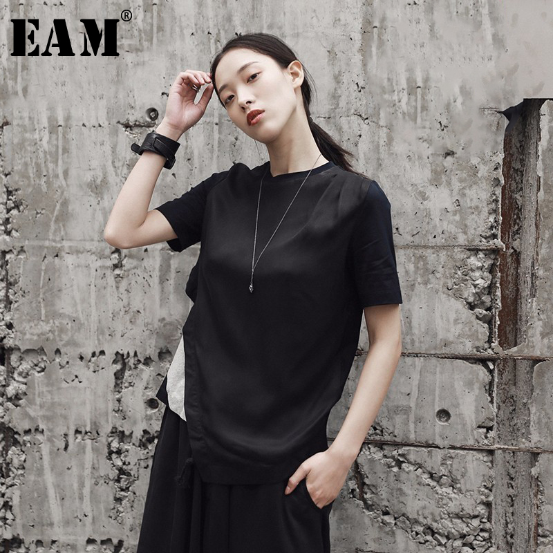 [EAM] 2020New Spring Summer  O-collar Short Sleeve Dark Blue Back Striped Stitch Irreguar Drawstring Hem T-shirt Women JF260