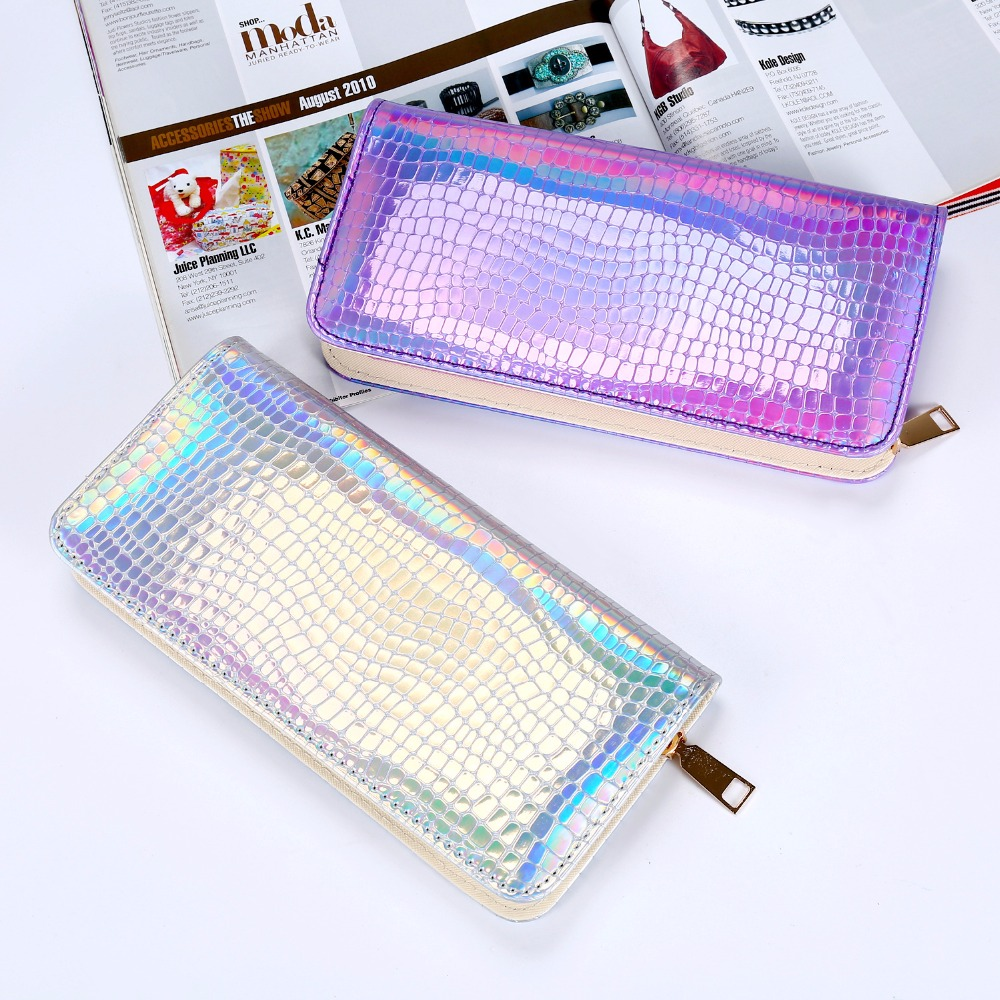 Hologram Wallet Female Long  Clutch Holographic Ladies Bag crocodile grain Coin Purse Card Id Holders laser silver Wallets 2018 yuanyu 2016 new women crocodile bag women clutches leather bag female crocodile grain long hand bag