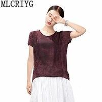 Summer Blouse Women Short Sleeve Women's Shirt 100% Silk Womens Tops and Blouses Plus Size 4XL blusas mujer de moda 2018 YQ138