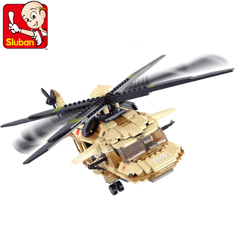 SLUBAN 0509 Military Helicopter Block Plastic Building Blocks Airplane Model Construction Hobbies Bricks Children Gift Toys 003