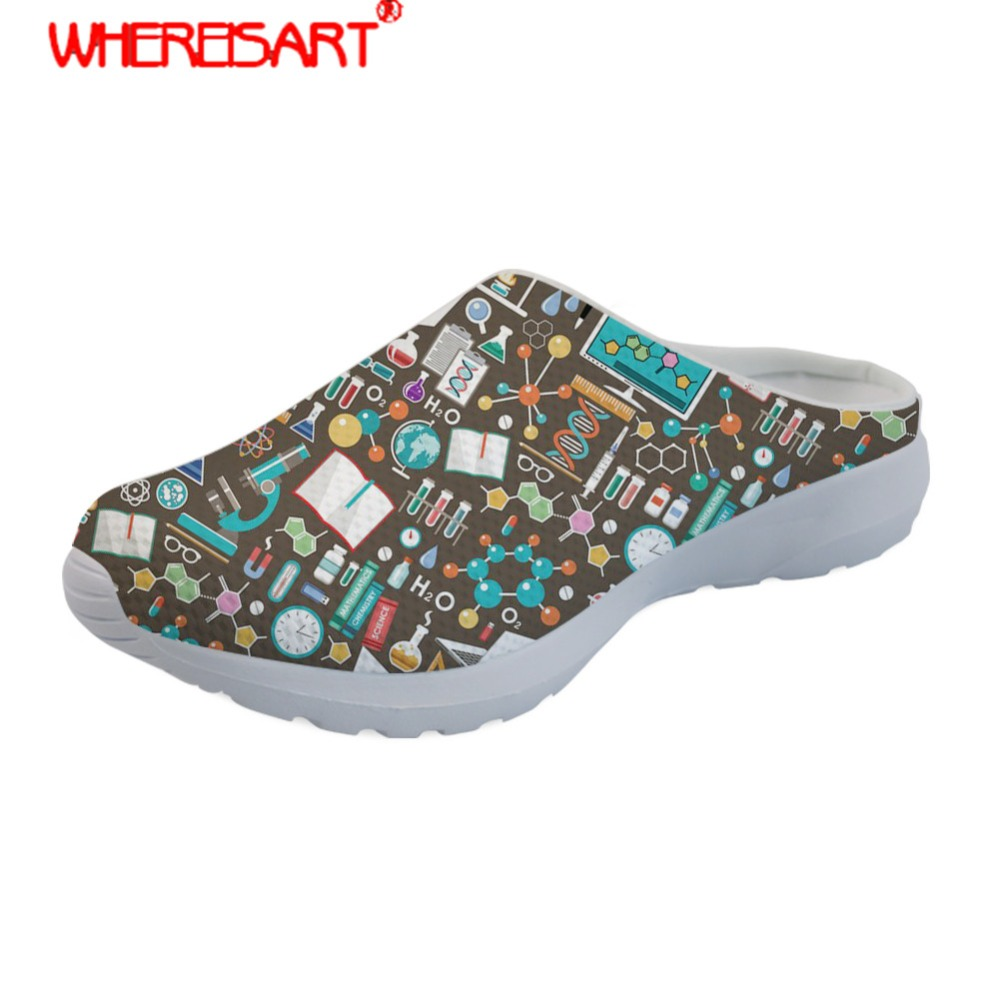 WHEREISART Science Printing Slippers Women Non Slip Home Slipper Ladies Mesh Beach Sandals for Females Slip on Slippers Zapatos