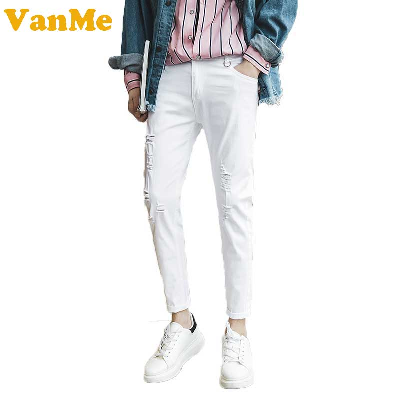 Men s 2017 summer new style solid white color with cut hole elastic mens fashion jeans