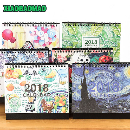 Calendar Cover 2018 : Desktop calendar cute girls cartoon flower covers