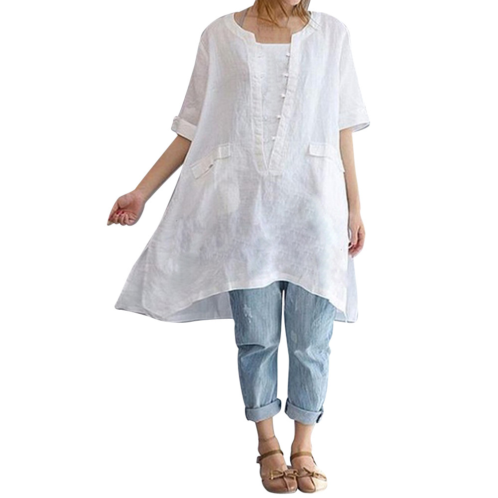 Enthusiastic Plus Size Summer Tops For Womens Tops And Blouses 2018 Elegant Linen Pockets Short Sleeve Long Shirts Ladies Top Womens Clothing High Standard In Quality And Hygiene Blouses & Shirts