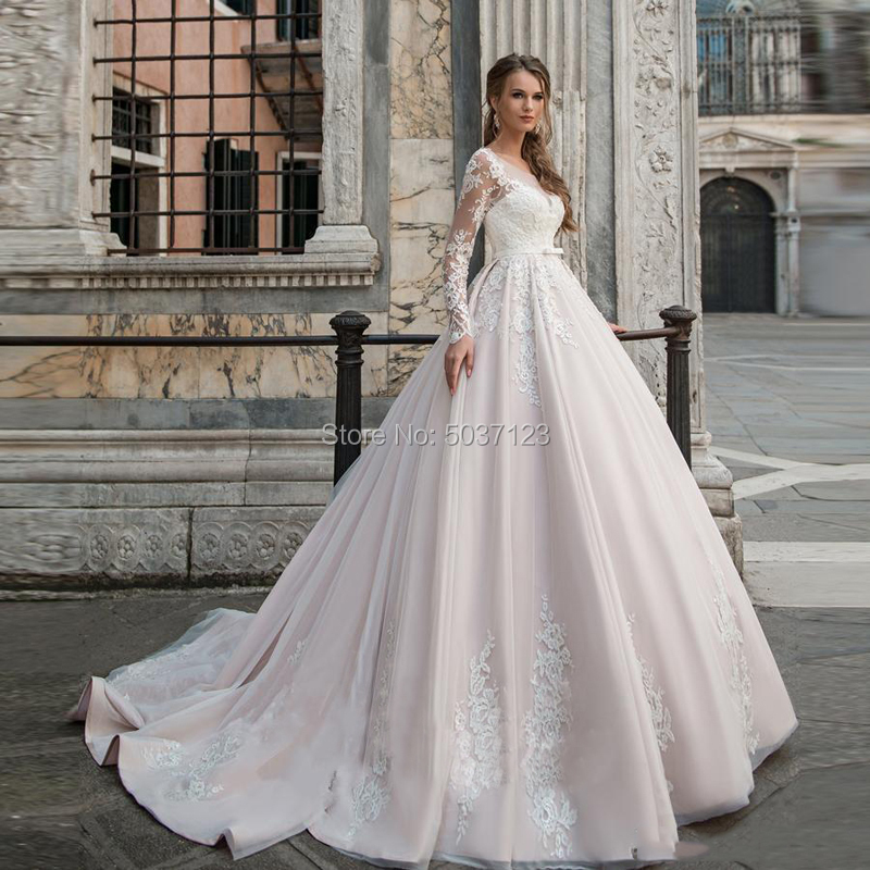 Pink Ball Gown Wedding Dresses Lace Appliques Vestidos De Noiva Long Sleeves Scoop Illusion Bridal Gown Robe De Mariee-in Wedding Dresses from Weddings & Events