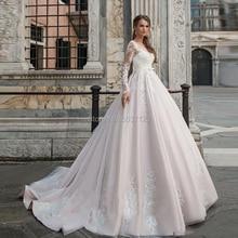 Rosa Ballkleid Brautkleider Spitze Appliques Vestidos De Noiva Langen Ärmeln Scoop Illusion Brautkleid Robe De Mariee