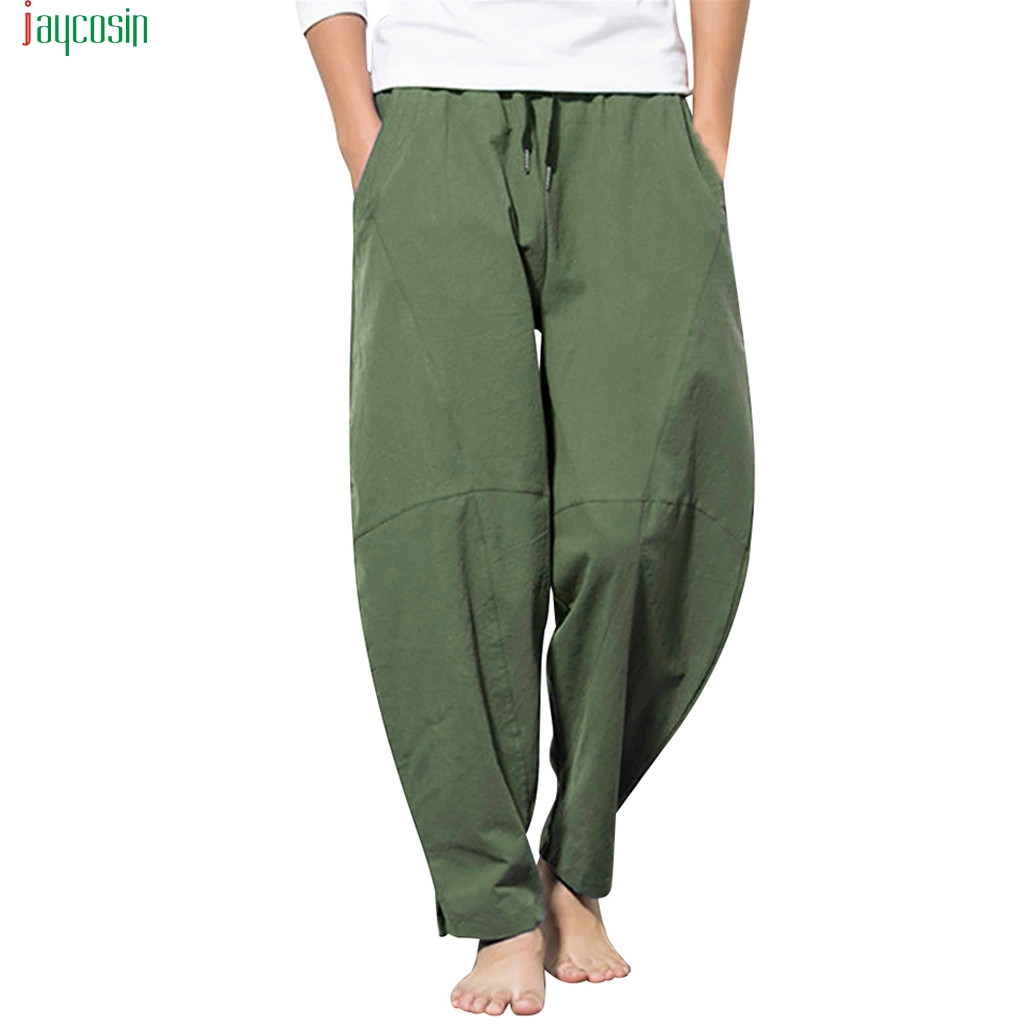 Jaycosin Men's Casual Fashion Loose Cotton Linen Pant Comfort Home Style Trousers Solid Long Pants Pantalones Sueltos De Lino