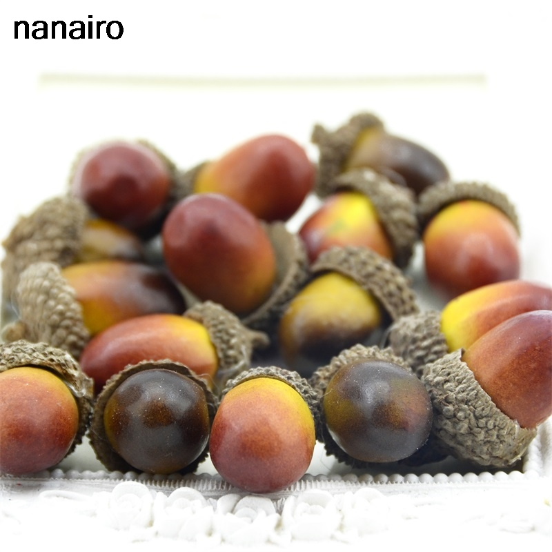 Cheap 20 Pieces Of Beautiful Acorns Mini Artificial Foam Fruit And Vegetables Fruits Home Wedding Christmas Tree Decoration