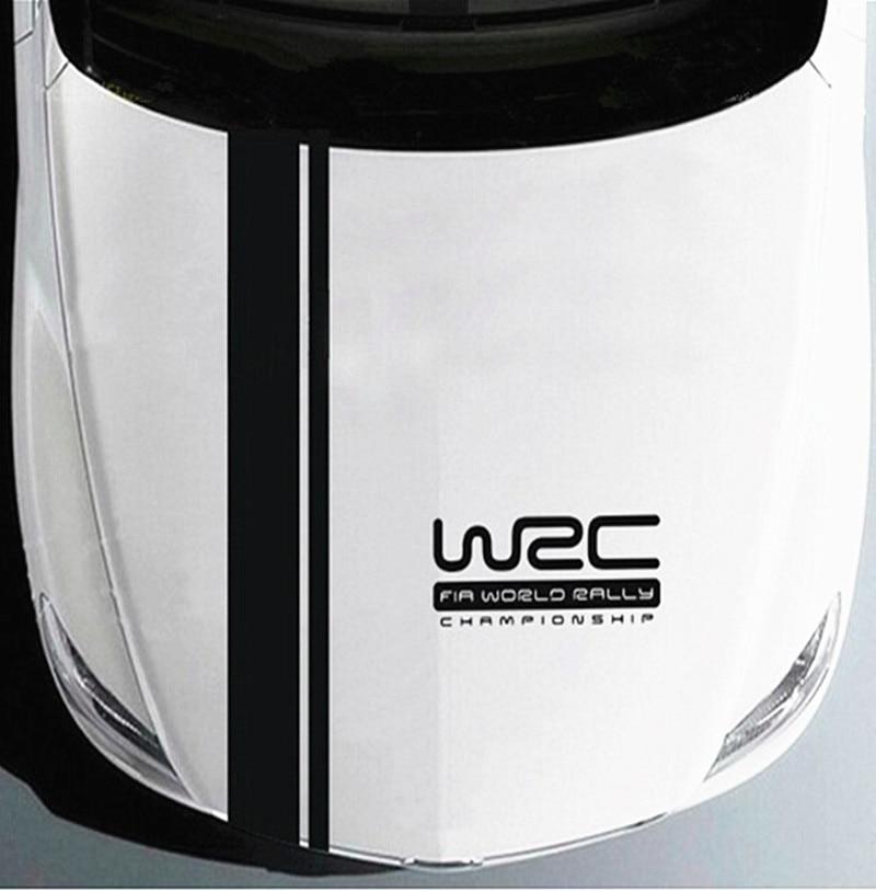free ship 2pcs/set long stripe vinyl racing sports decal,WRC car stickers for ford focus/VW golf gti/ cruze/Fiesta/ renault clio