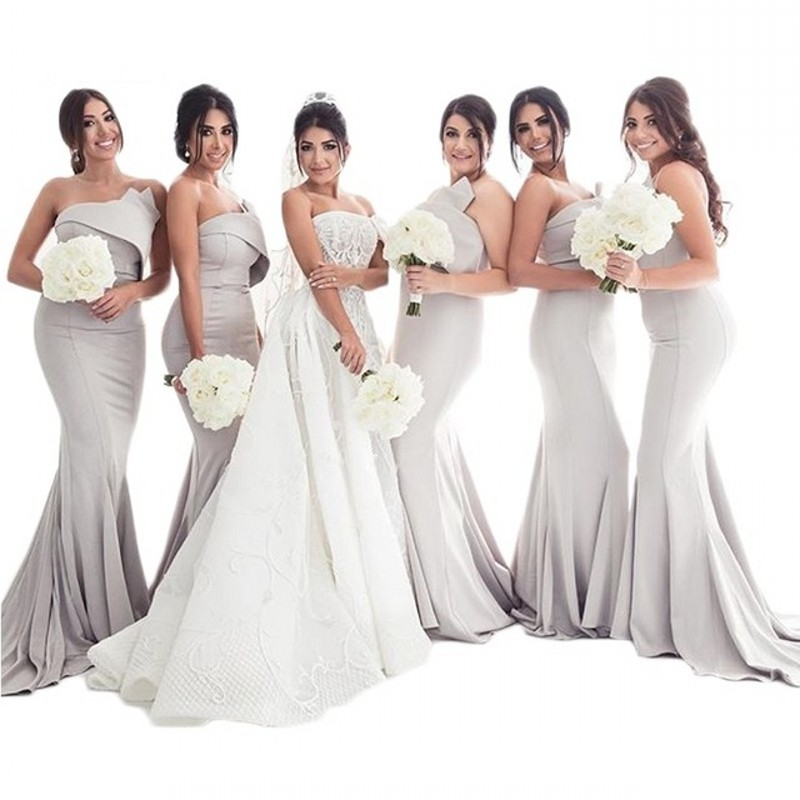 Famouse Design Gray Strapless Sleeveless Court Train Mermaid   Bridesmaid   Gowns Sexy   Bridesmaid     Dresses   Fast Shipping