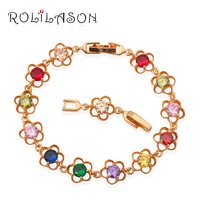 18K K Gold Plated Bracelets AAA Zircon Beautiful Color Crystal Health Nickel Lead Free Fashion Jewelry