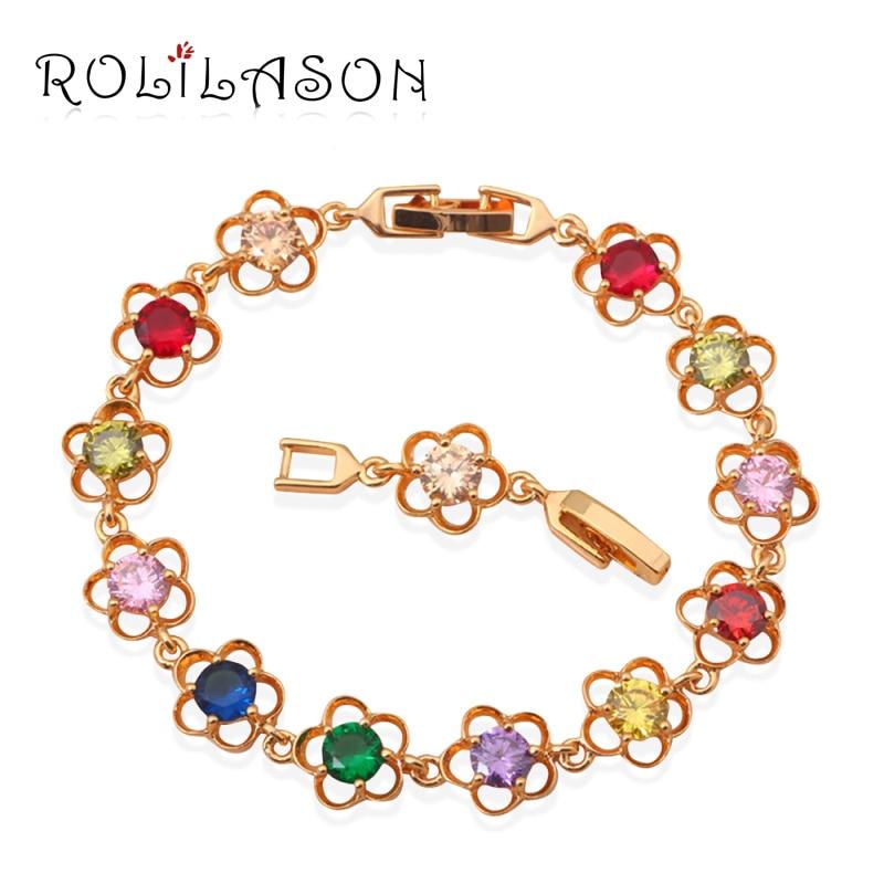 Brățări de farmec cu ton de aur ROLILASON AAA Zircon și culoare frumoasă Cristal sănătate Nichel fără plumb Bijuterii de modă TB389