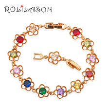 ROLILASON Gold Tone Charm Bracelets AAA Zircon & Beautiful Color Crystal