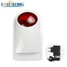 Flash LED de sirena estroboscópica inalámbrica de 433MHz y 315MHz, trabajo impermeable para interiores/exteriores, diseñado para nuestro sistema de alarma de seguridad para el hogar