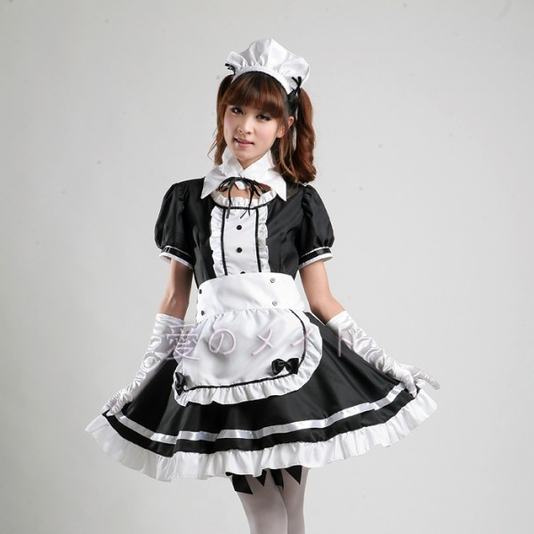 Sexy French Maid Costume Sweet Gothic Lolita Dress Anime Cosplay Sissy Maid Uniform ...