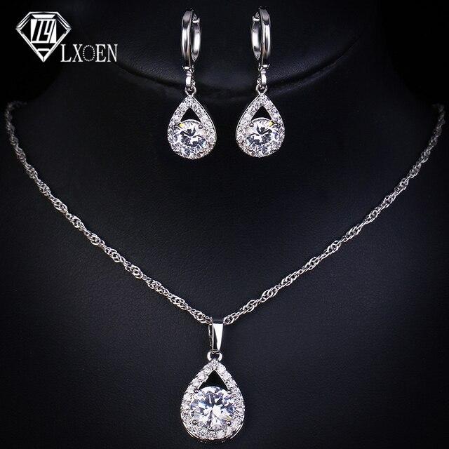LXOEN אופנה לקדש טיפת מים קריסטל תכשיטי סטים לנשים חישוקי שרשרת זירקון חתונה סט תכשיטי מתנה
