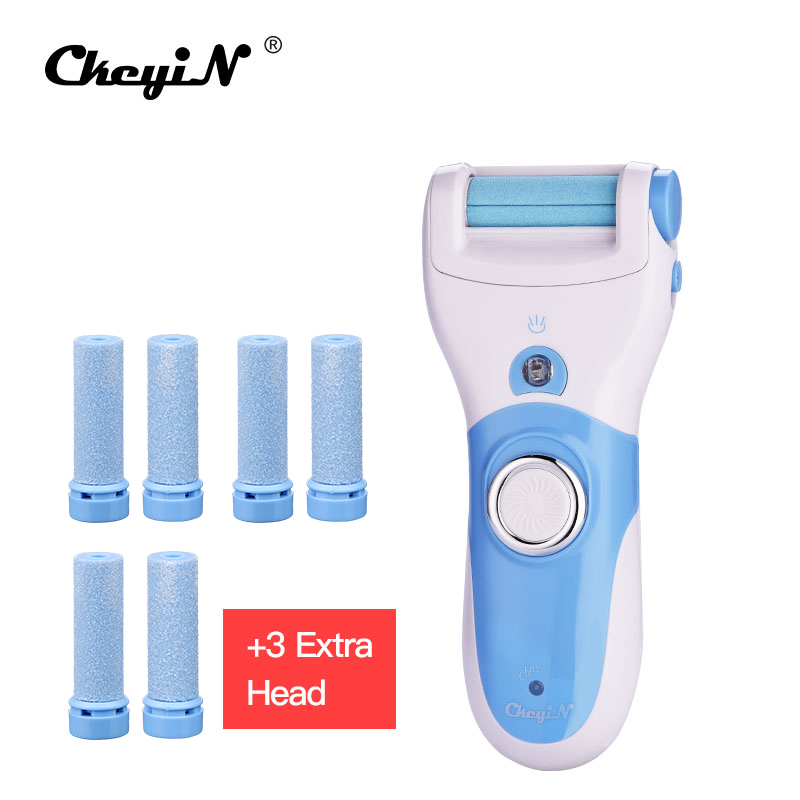 Total 8 Rollers Cuticles / Dead Dry Hard Skin Remover Foot Care Tools Electric Heel Pedicure Tool Peeling Exfoliator + LED S47