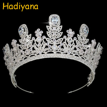 Hadiyana High Quality Fine Tiaras Luxury Wedding Crown Rhinestone Sliver Jewelry Tiara For Women King Princess Party Gift BC3971