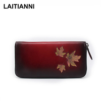 Clutch Wallets Ladies Cowhide New Designer Female Maple Leaves Purses Handmade Carteira Retro Leather Women Wallets