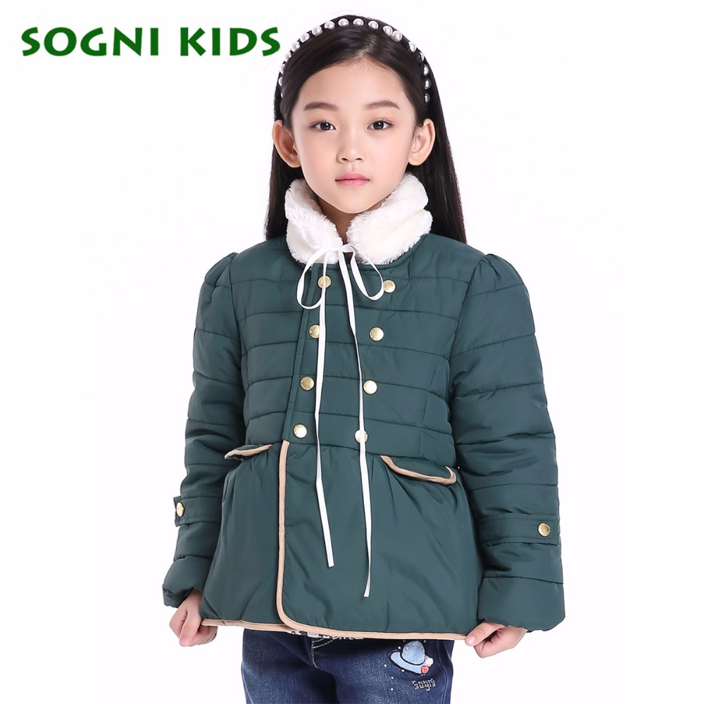 SOGNI KIDS Children Clothing For Girls New Fashion Fur Vertical Collar Girls Winter Coat Brand Kids