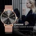 Женские часы  розовое золото  ультратонкие модные кварцевые часы LIGE  автоматические  водонепроницаемые  настольные  для девушек