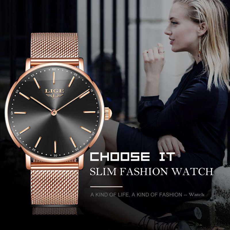 Women's Watch Rose Gold LIGE Top Brand Ultrathin Fashion Quartz Watch Automatic Date Waterproof Table Girl Table Relogio Feminin