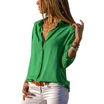 Soild Women Shirt 2019 Spring Autumn Casual Chiffon Blouse Long Sleeve Deep V Neck Button Office Work Wears Top Plus Size S-XXXL 1