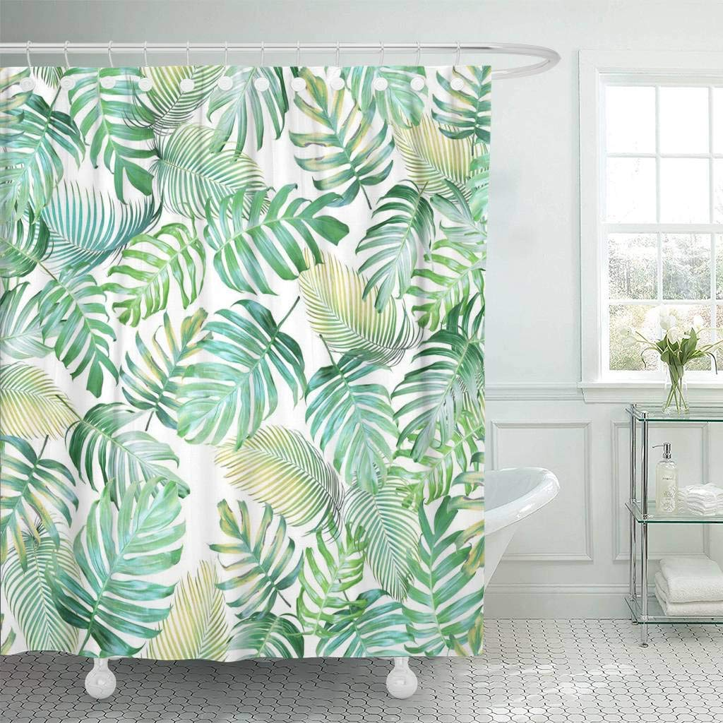 Us 17 48 30 Off Fabric Shower Curtain With Hooks Tropical Leaves Of Monstera Philodendron And Palm In Light Green Yellow Color Tone In Shower