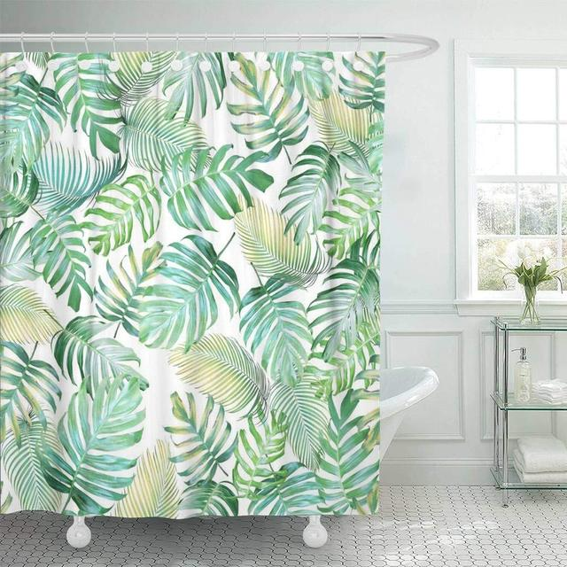 Fabric Shower Curtain With Hooks Tropical Leaves Of Monstera Philodendron And Palm In Light Green Yellow Color Tone