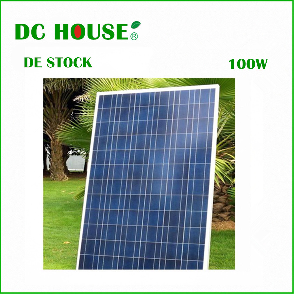 цена на DE Stock 100 Watt Polycrystalline solar panel for 12V RV Boat Home Camping Off Grid