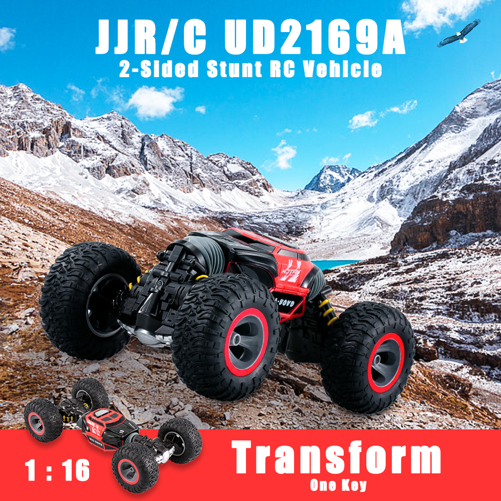 JJR/C RC Car UD2169A 8km/h 2.4G 1:16 4WD Double Sided Stunt One Key Transform Vehicle Monster Rock Crawler Off-road RTR Car