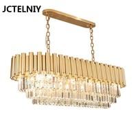 Новый современный свет Роскошные прямоугольная люстра k9 кристалл лампы дома столовая лампа золото декоративный свет