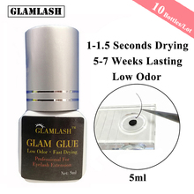 GLAMLASH 10 Bottles/Lot 5/10ml Eyelash Extension Glue Suppliers Adhesive 1 Sec Drying Time 9 Weeks Maximum Bond Individual